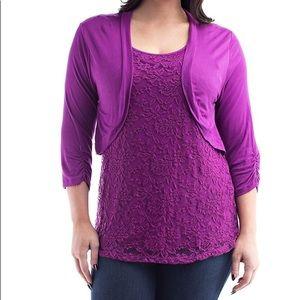 Tops - 🔴 Purple Lace Cardigan-overlay Plus